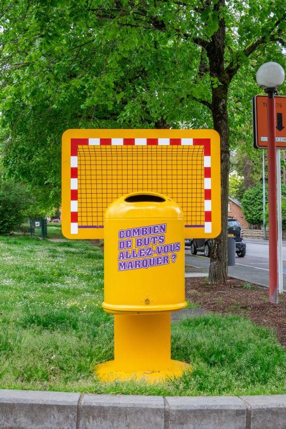 poubelle sportive jaune hand ball place jean forhmann dudelange campagne anti littering
