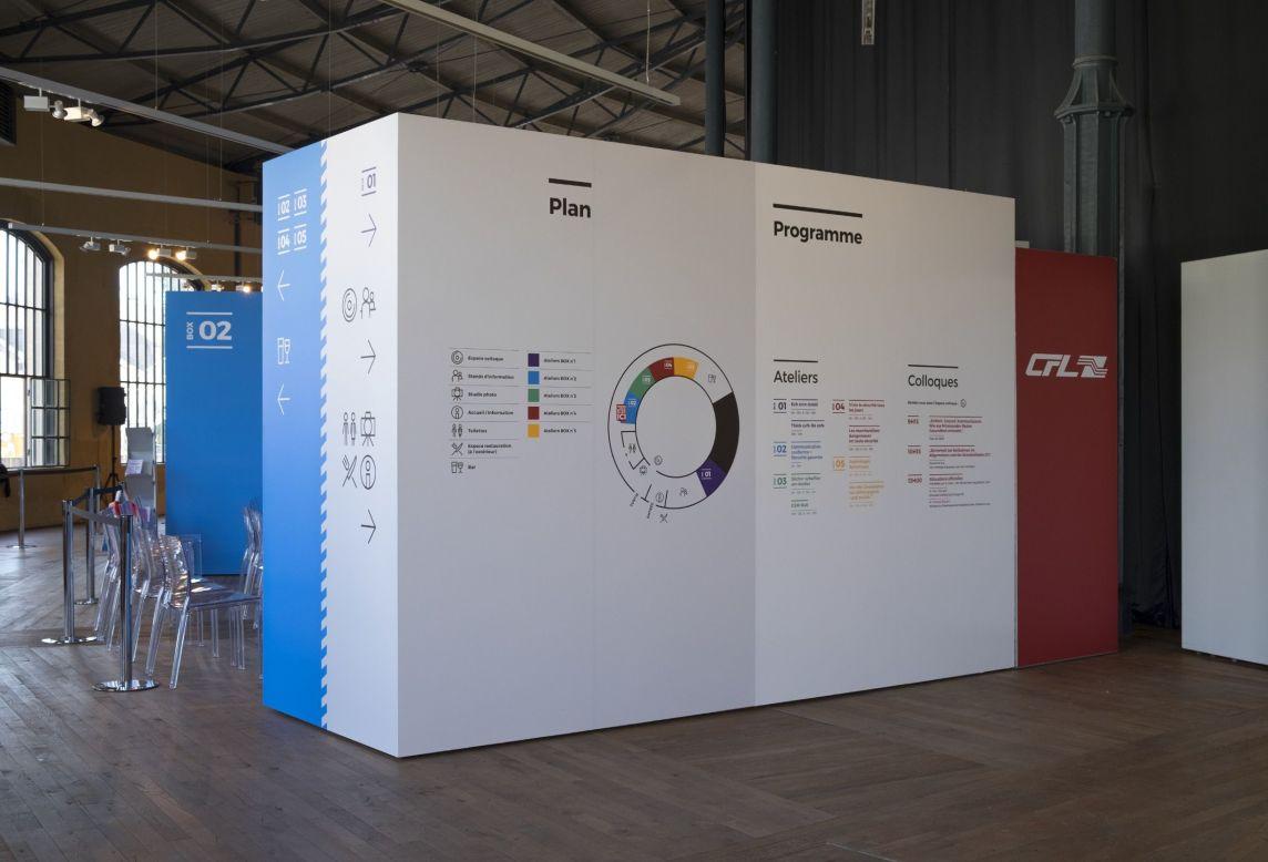 Plan et programme collés sur un bloc de séparation pour la Journée Sécurité Santé 2017 CFL aux Rotondes Luxembourg
