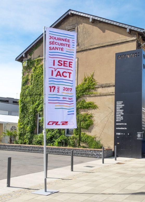 Drapeau à l'identité de la Journée Sécurité Santé 2017 CFL à l'entrée des Rotondes