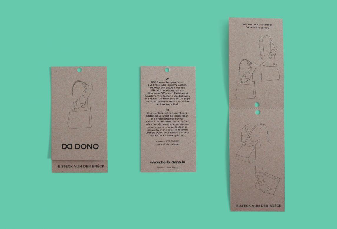 Photographie d'une étiquette d'un produit DONO en recto verso et ouverte