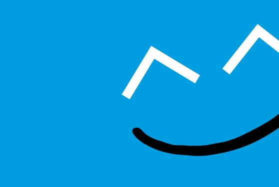 Smiley du Kannerduerf sur fond bleu cyan
