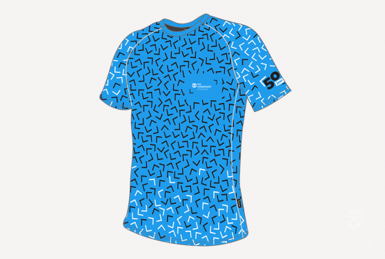 Tshirt bleu cyan SOS Kannerduerf avec motif noir et blanc