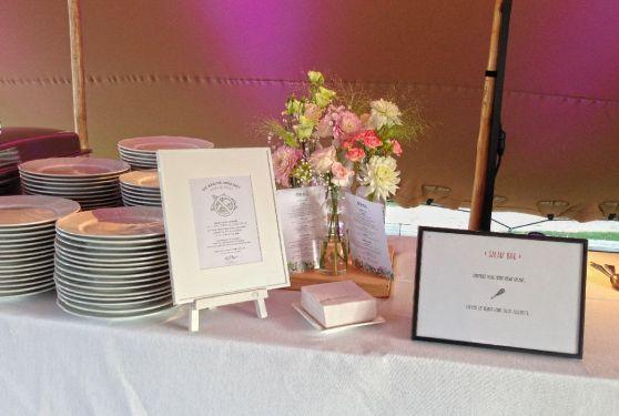 Détail de la table du traiteur pour un événement privé