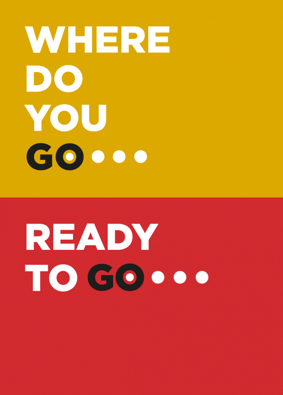 Phrases Where do you go et Ready to go sur fond jaune et rouge