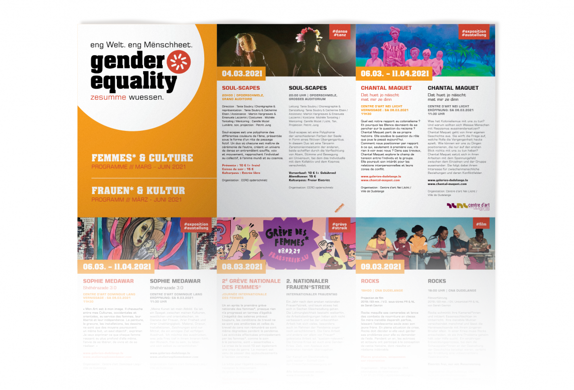 dépliant gender equality femmes et culture 2021 ville de dudelange par accentaigu